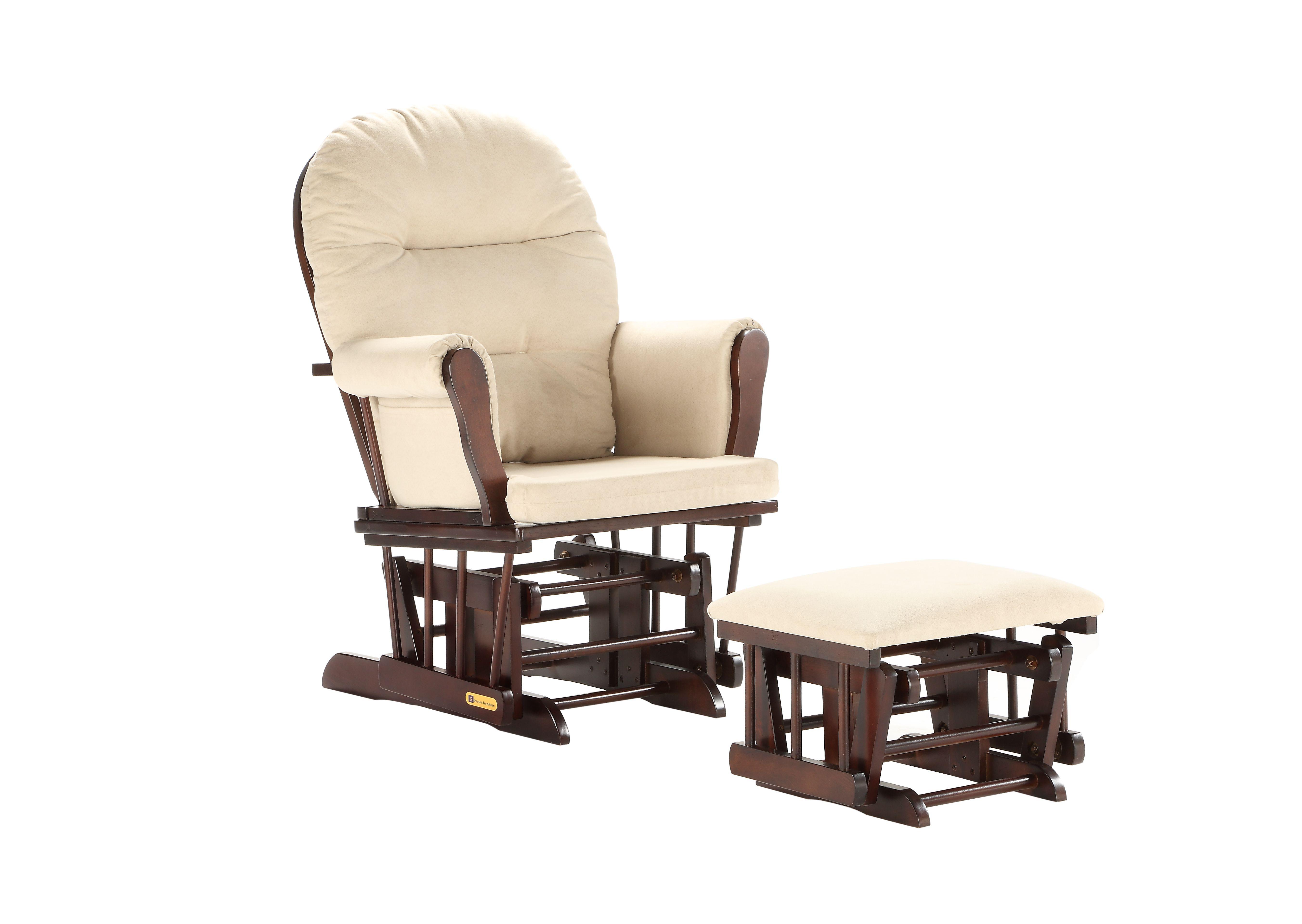 Glider Chair And Ottoman Combo Espresso Beige 7082cb 02 0182