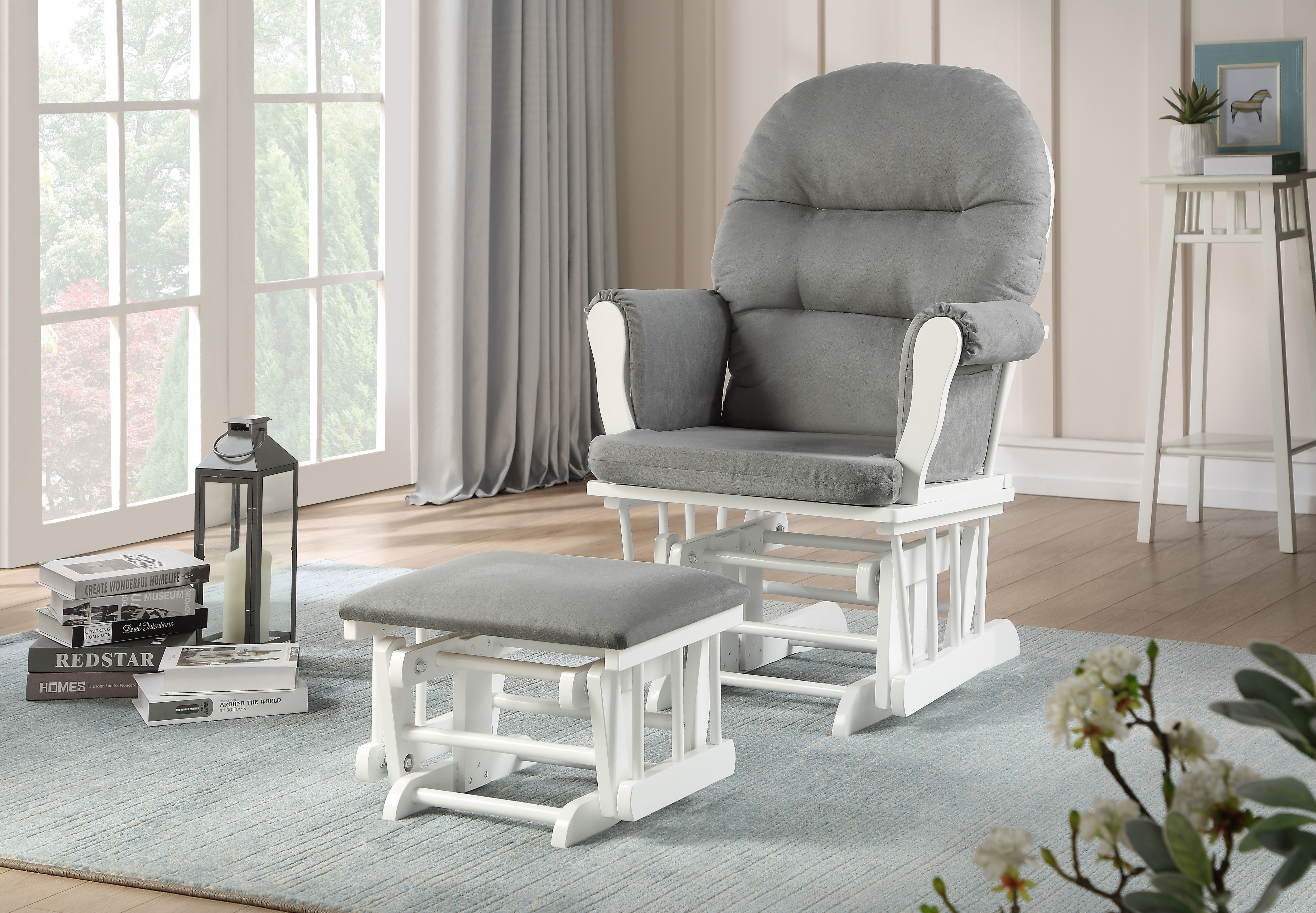 Glider Chair And Ottoman Combo White Grey 7082cb 15 1139