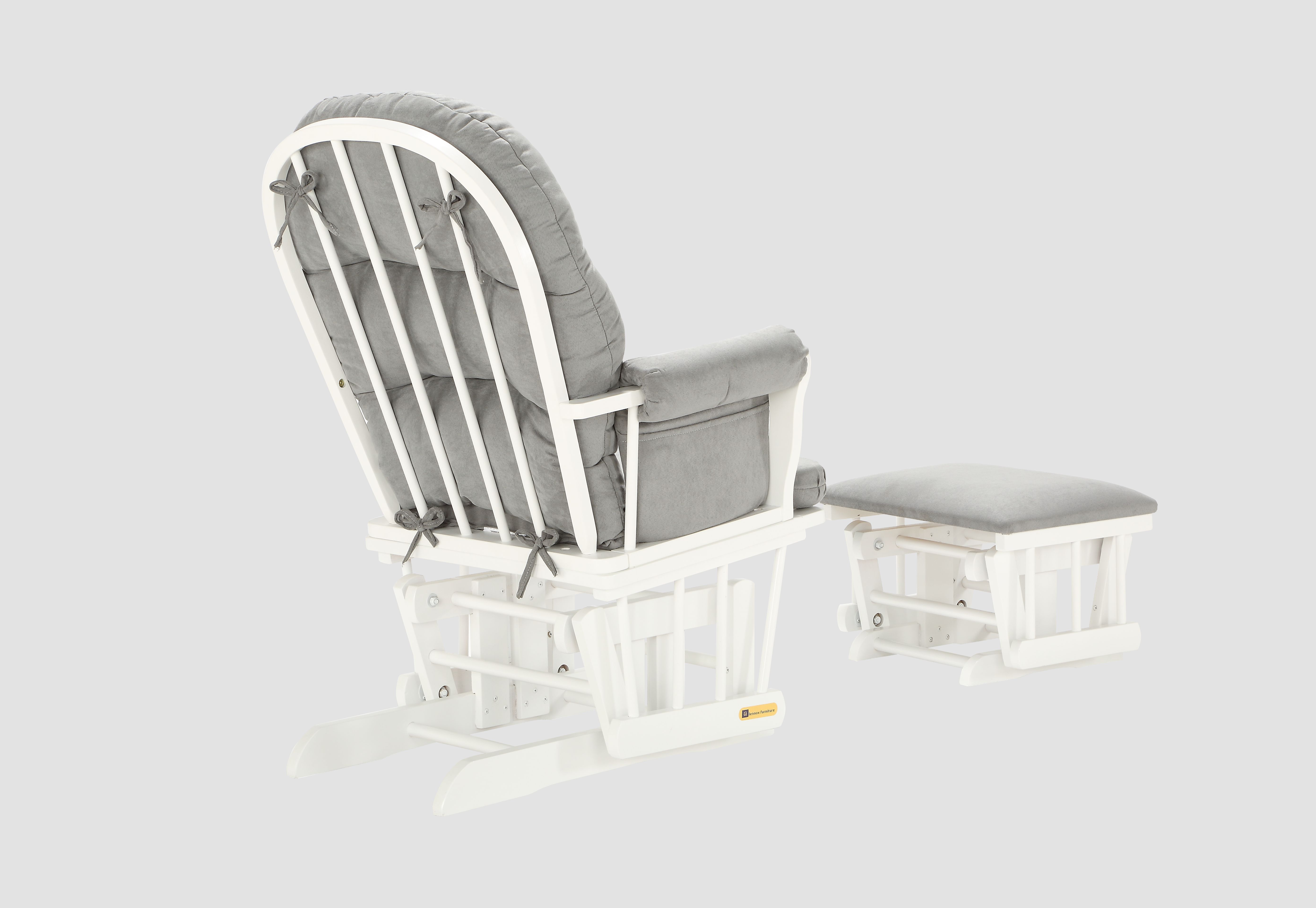 Swell Glider Chair And Ottoman Combo White Grey 7082Cb 15 1139 Cjindustries Chair Design For Home Cjindustriesco