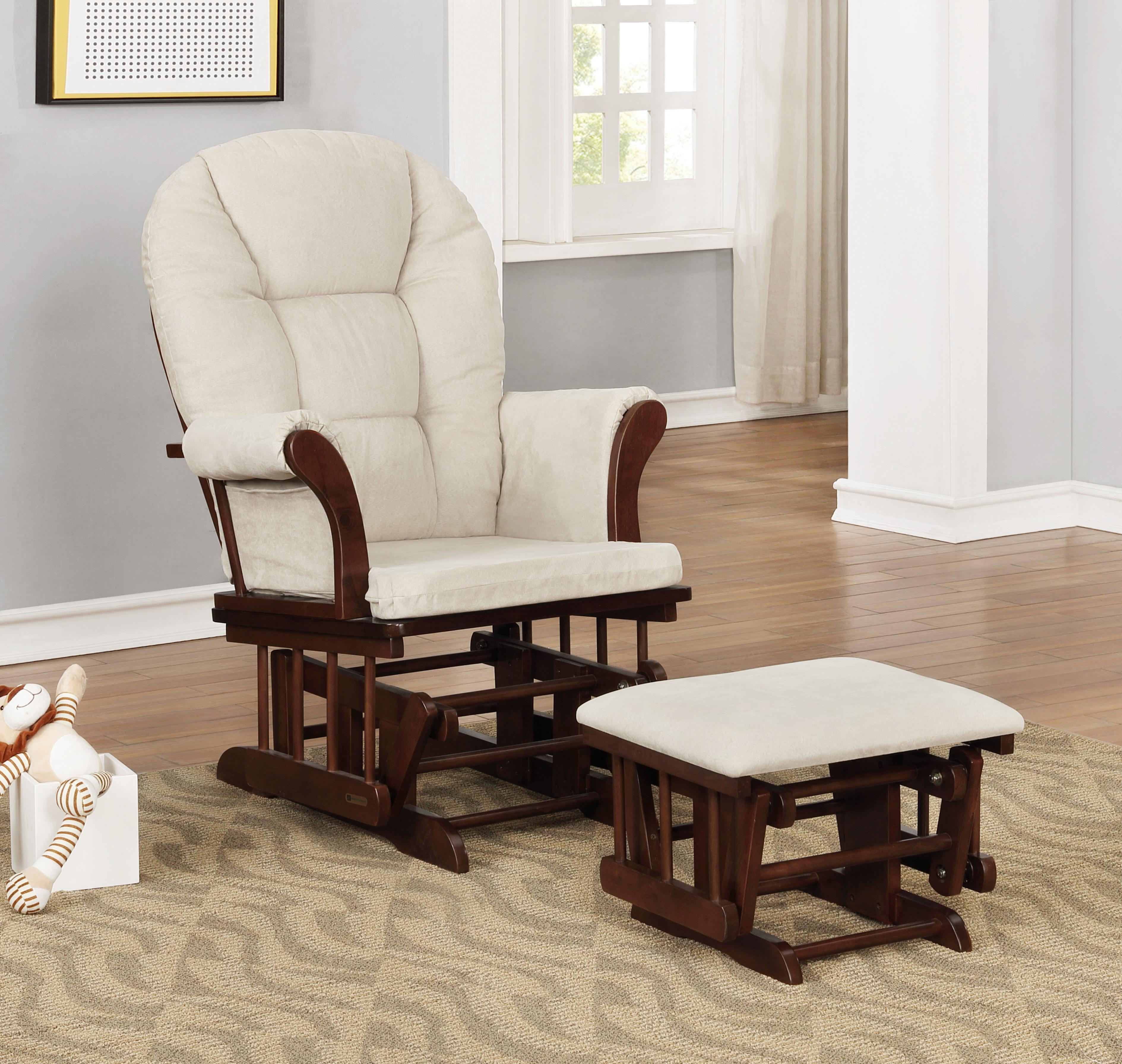 Pleasing Glider Chair And Ottoman Combo Espresso Beige 7083Cb 02 0182 Short Links Chair Design For Home Short Linksinfo