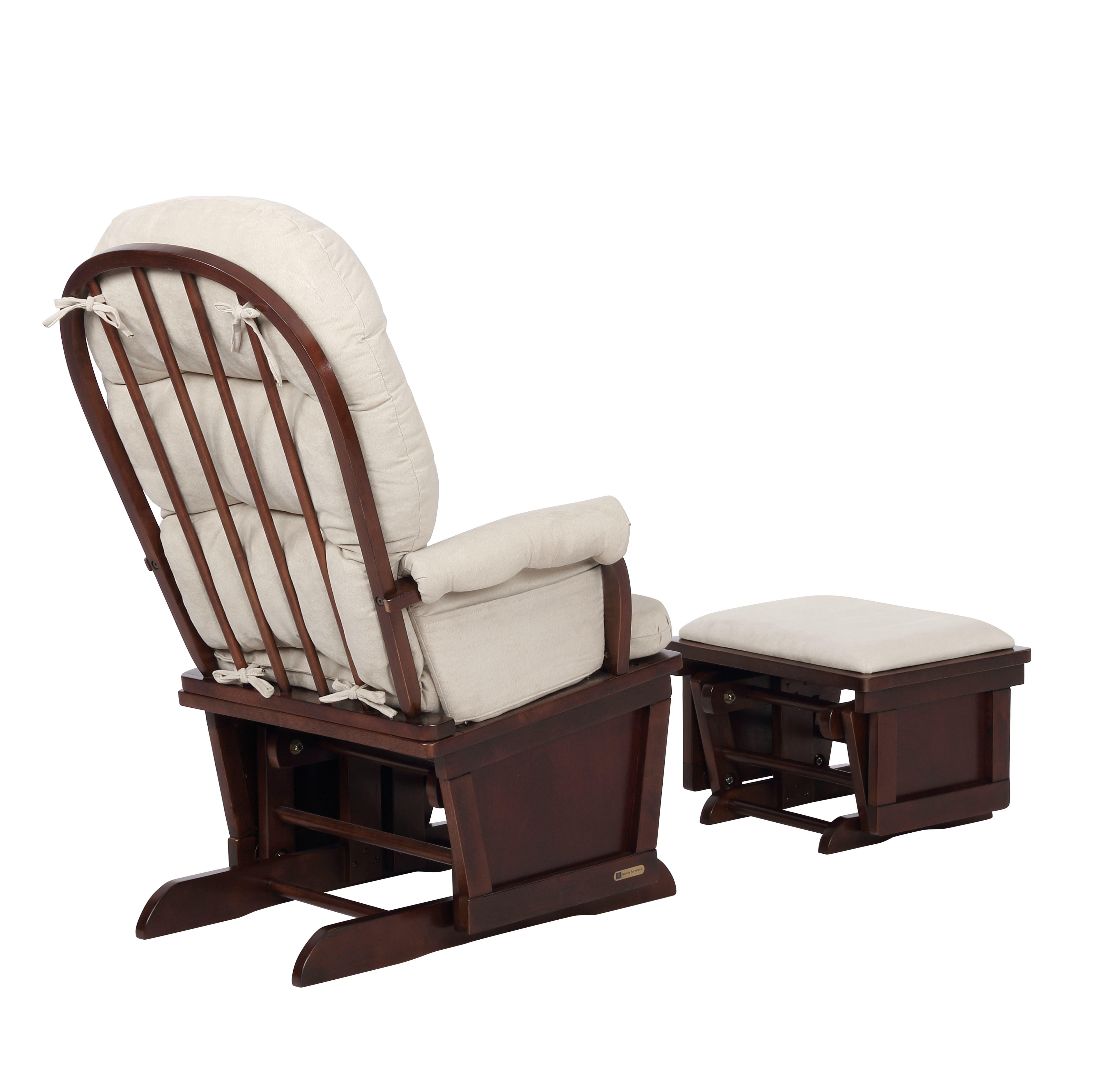 Glider Chair And Ottoman Set Espresso Beige 7580cb 02 0182