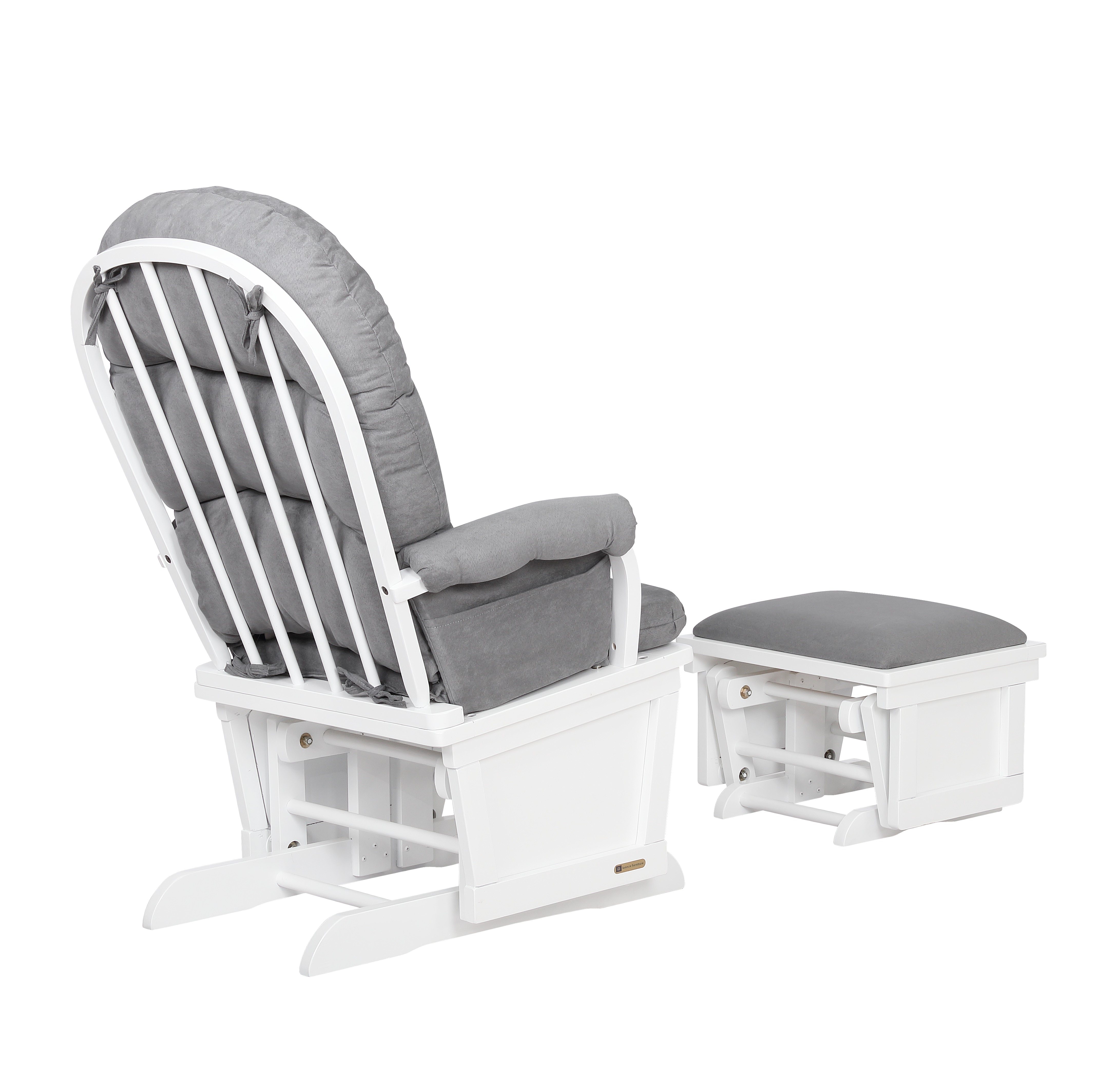 Glider Chair And Ottoman Set White Grey 7580cb 15 1139