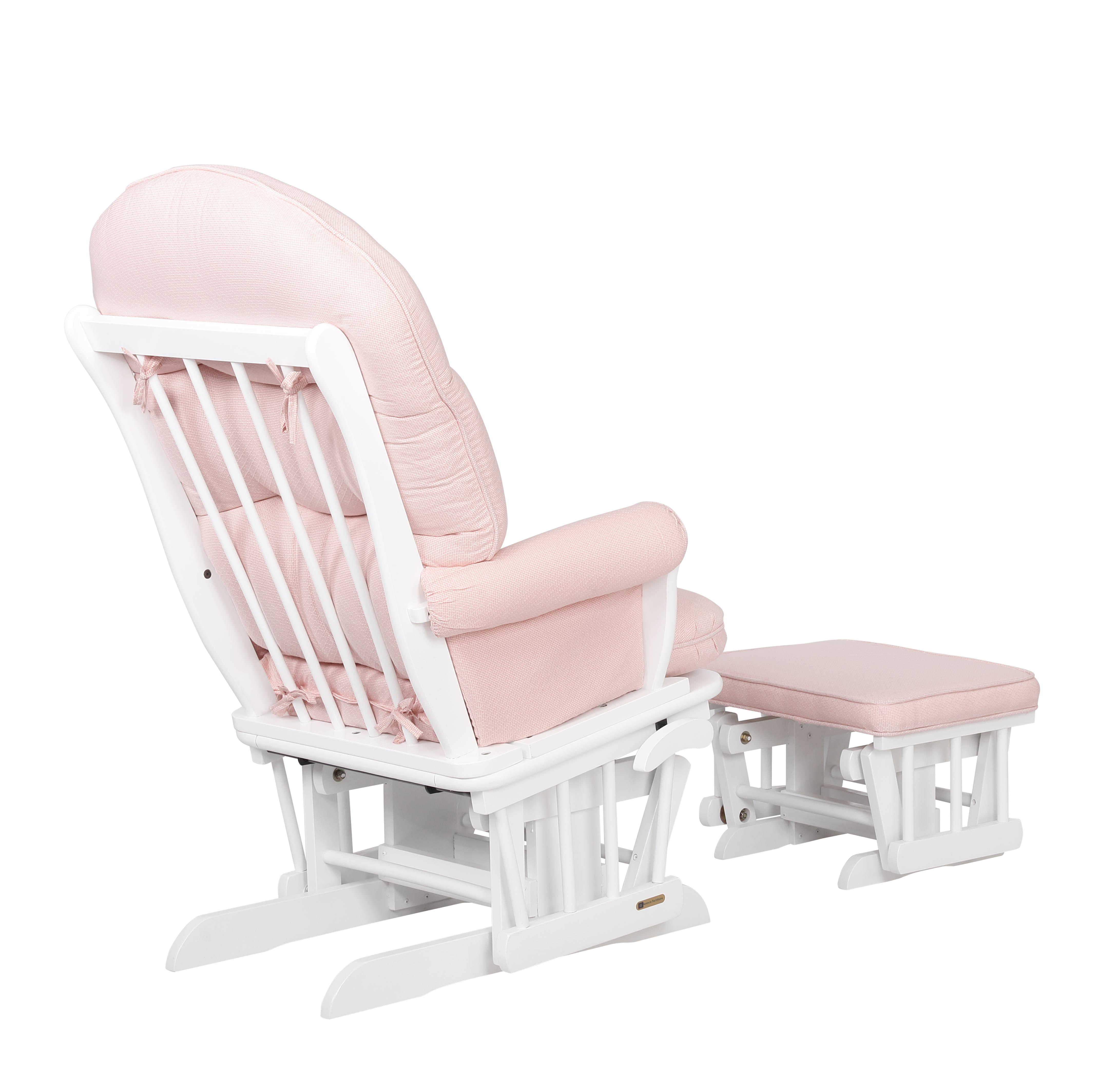 Glider Chair And Ottoman Set White Pickwick Pink Combo 7729cb 15 1015