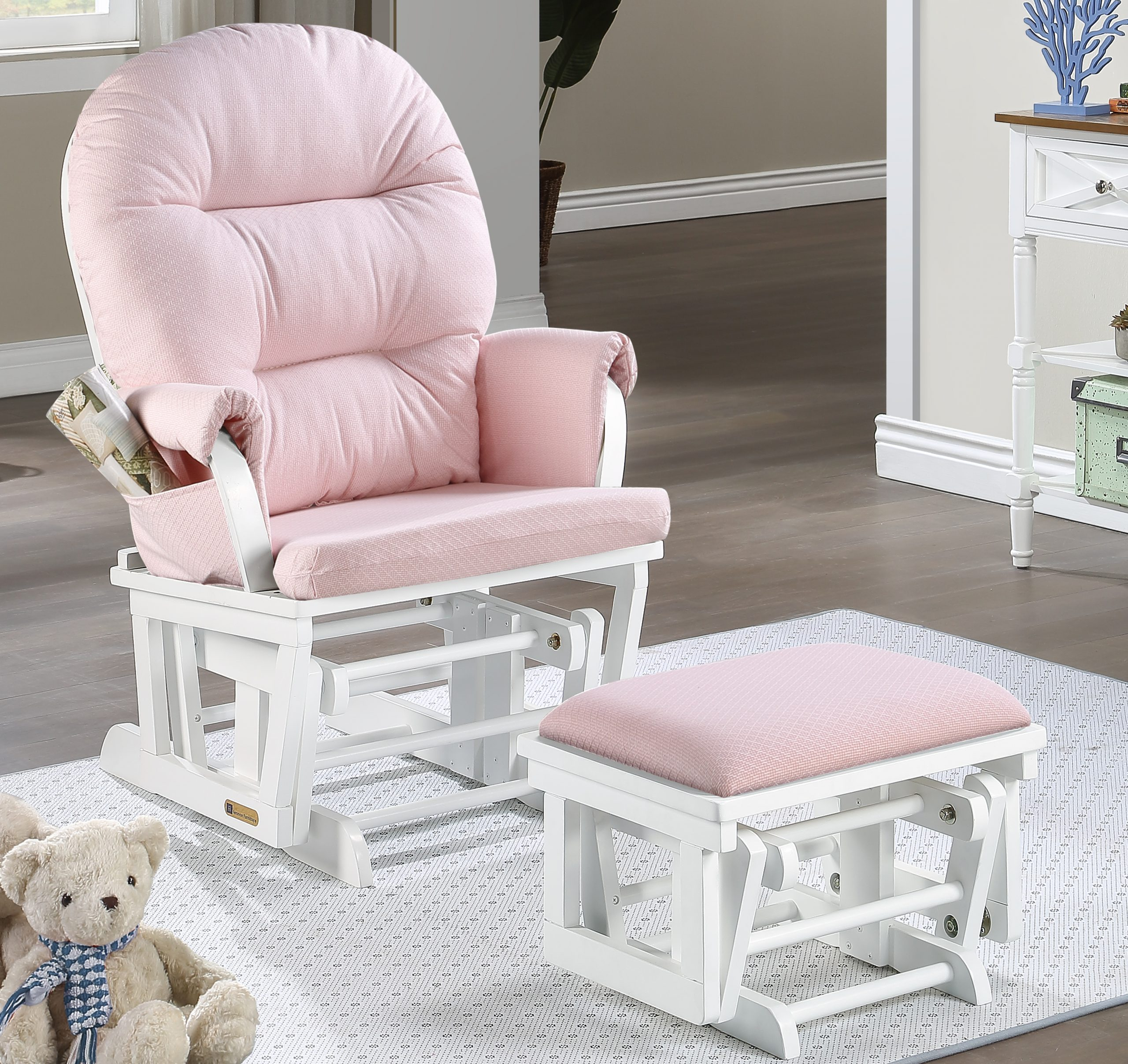 Aiden Glider Chair And Ottoman Combo White Pink 7850cb 15 1015 Lennox Furniture